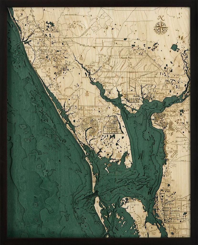 Bathymetric Map Charlotte Harbor - Scrimshaw Gallery - Charlotte Harbor Florida Map