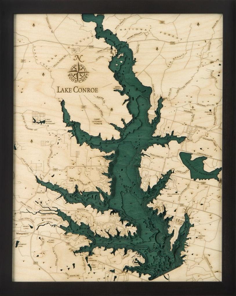 Bathymetric Map Lake Conroe, Texas In 2019 | Bathymetric Maps - Map Of Lake Conroe Texas