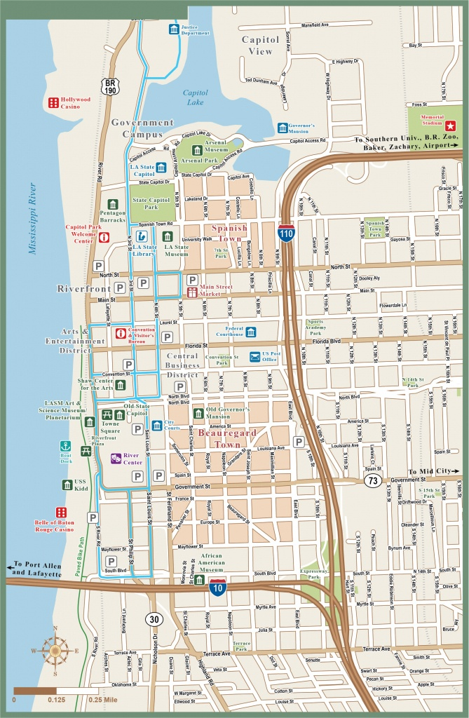 Baton Rouge Downtown Map | Digital| Creative Force - Printable Map Of Baton Rouge