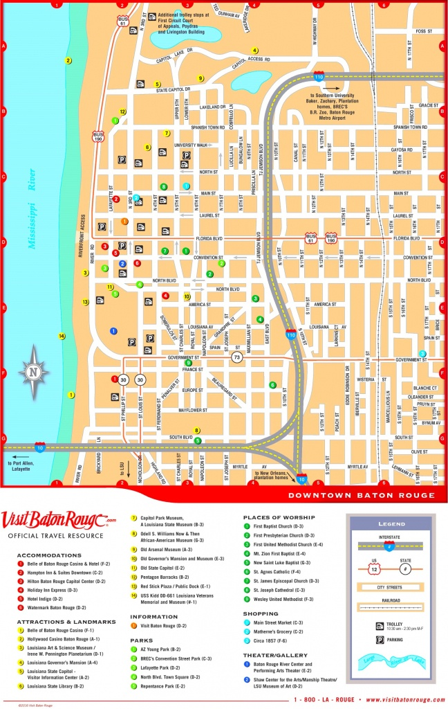 Baton Rouge Downtown Map - Printable Map Of Baton Rouge