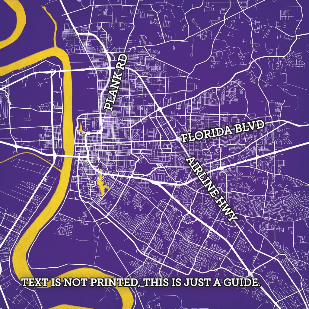 Baton Rouge, Louisiana Map Art - City Prints - Printable Map Of Baton Rouge