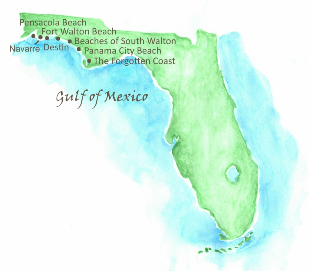 Beaches Of Northwest Florida Map   Southern Vacation Rentals - Northwest Florida Beaches Map
