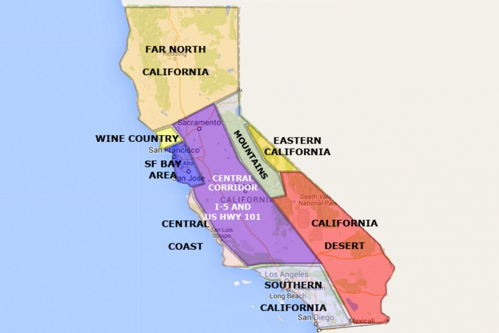 Best California Statearea And Regions Map - Map Of Central And Southern California Coast