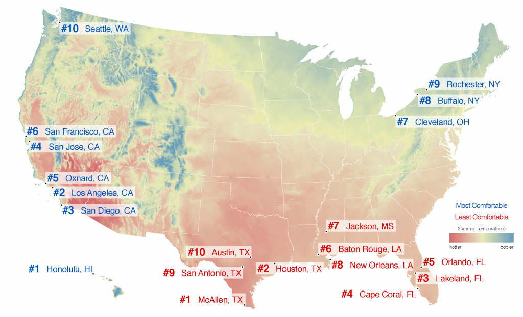 Best Places To Live – City Rankings – Most Comfortable Summer Cities - Florida Humidity Map
