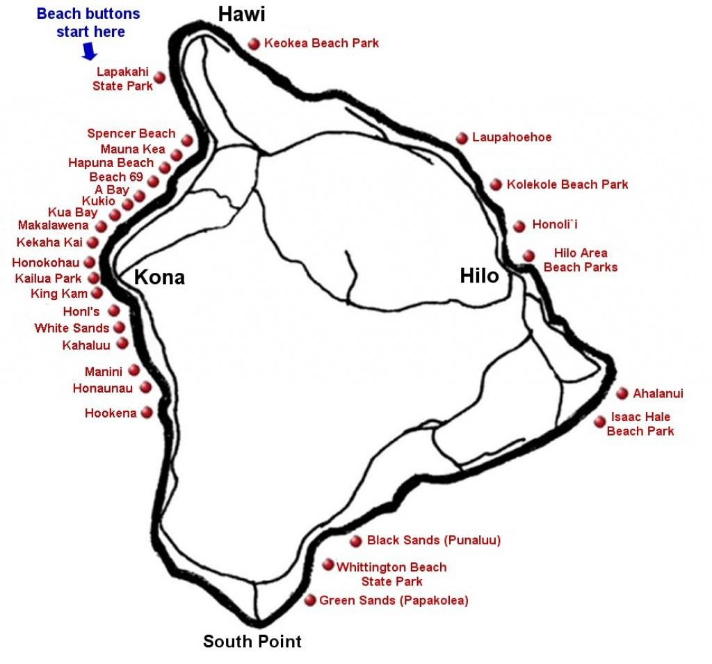 "Big Island Beaches & The Big Island <Br> <Meta Name=""keywords - Map Of The Big Island Hawaii Printable"