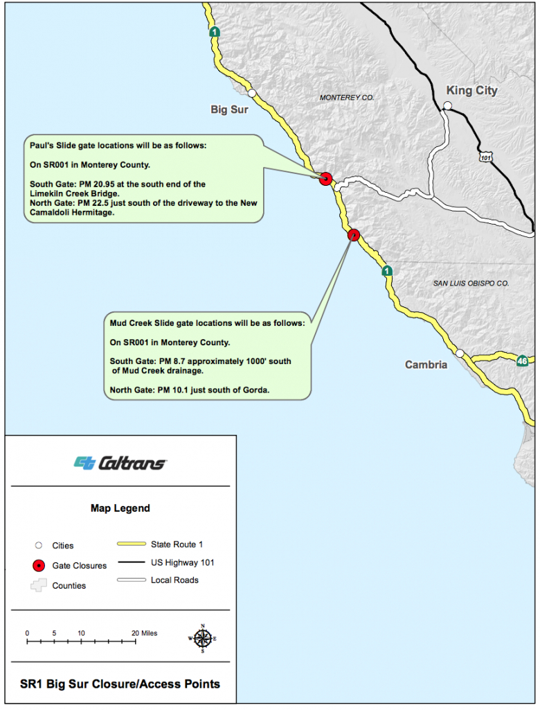 Big Sur California Blog - California Highway 1 Closure Map
