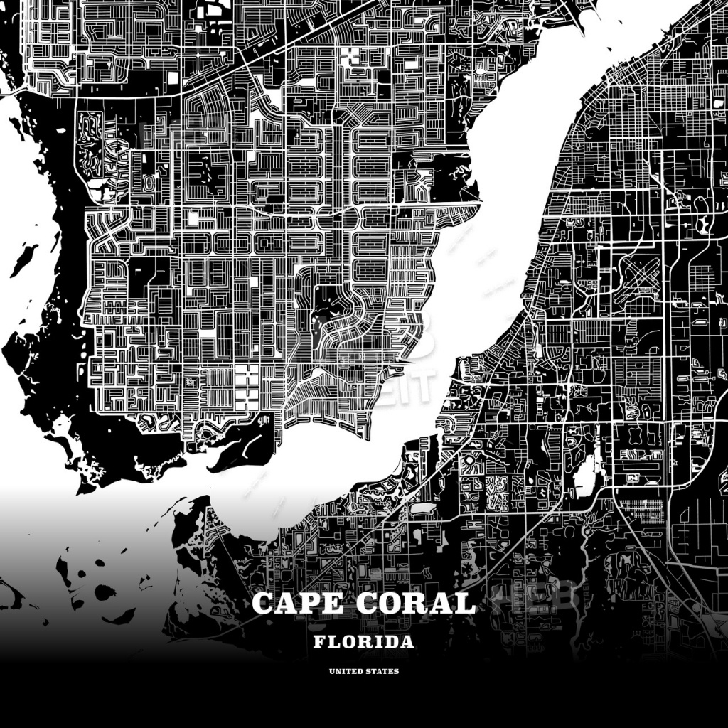 Black Map Poster Template Of Cape Coral, Florida, Usa | Hebstreits - Florida Map Poster