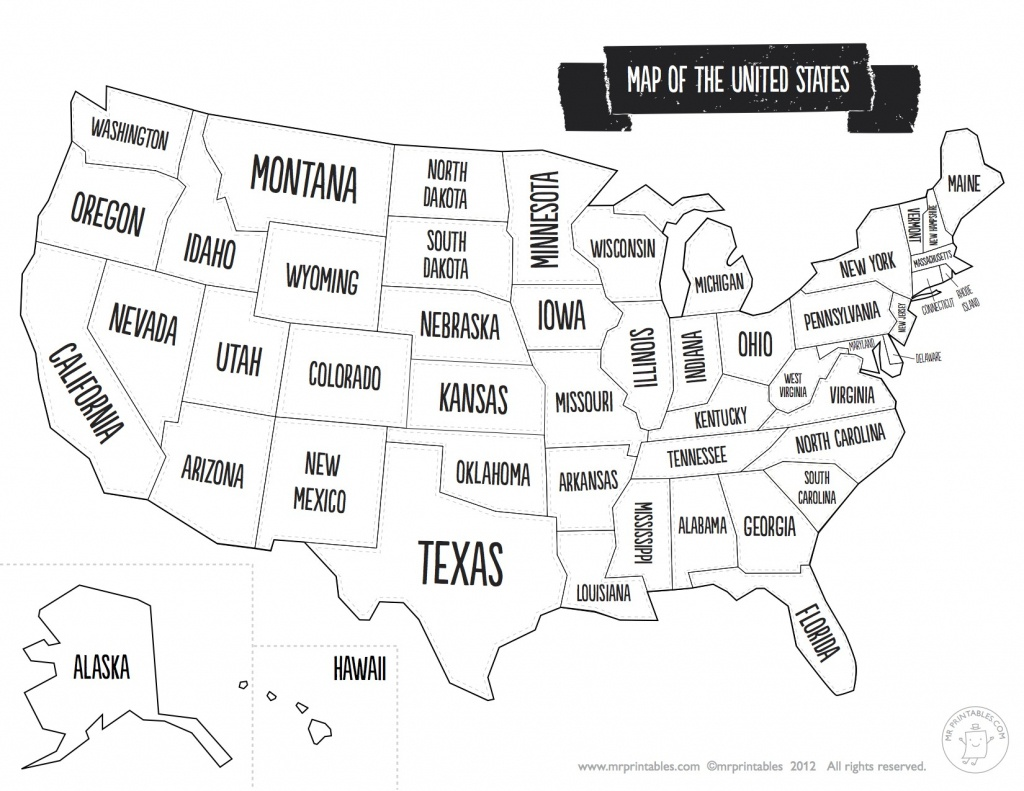 Blank Black And White Us Map Usa Abbreviations Within United States - Map Of United States Without State Names Printable