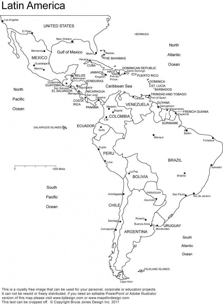 Blank Map Of Central And South America Printable And Travel - Printable Map Of Central And South America