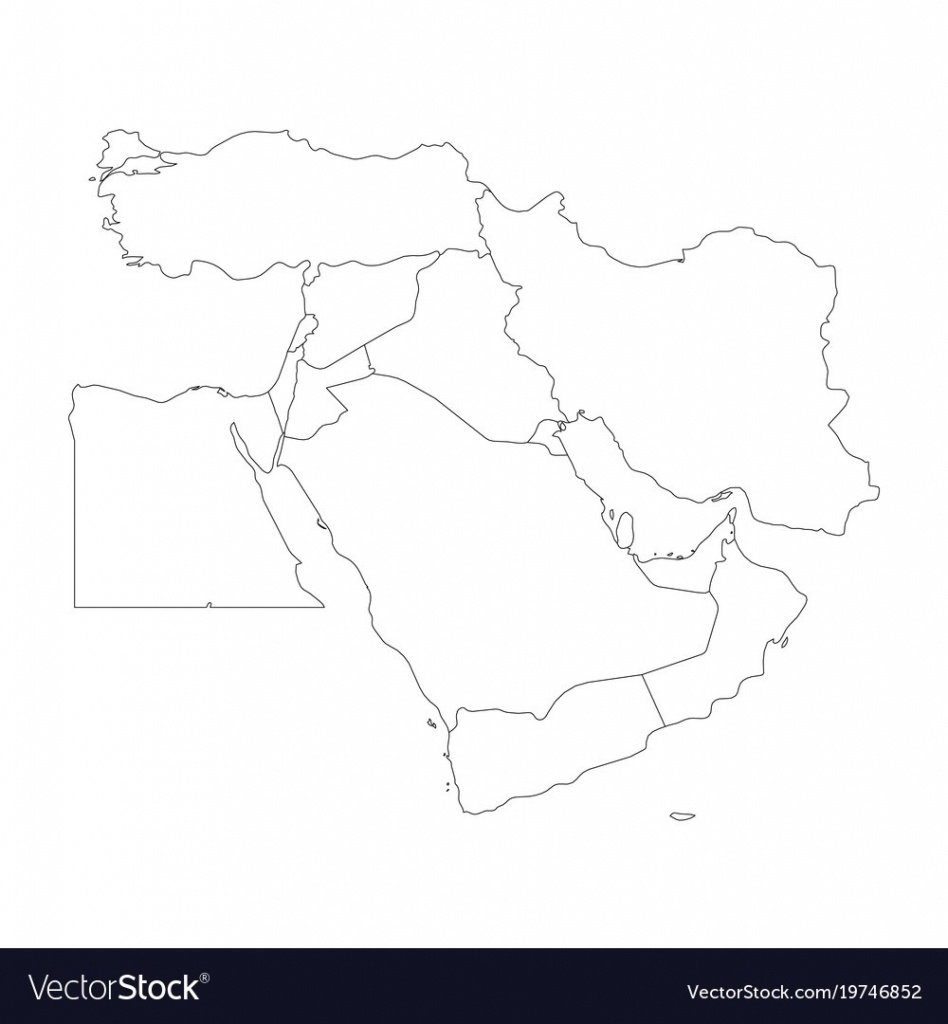 Blank Map Of Middle East Or Near East Simple Vector 19746852 17 - Printable Blank Map Of Middle East