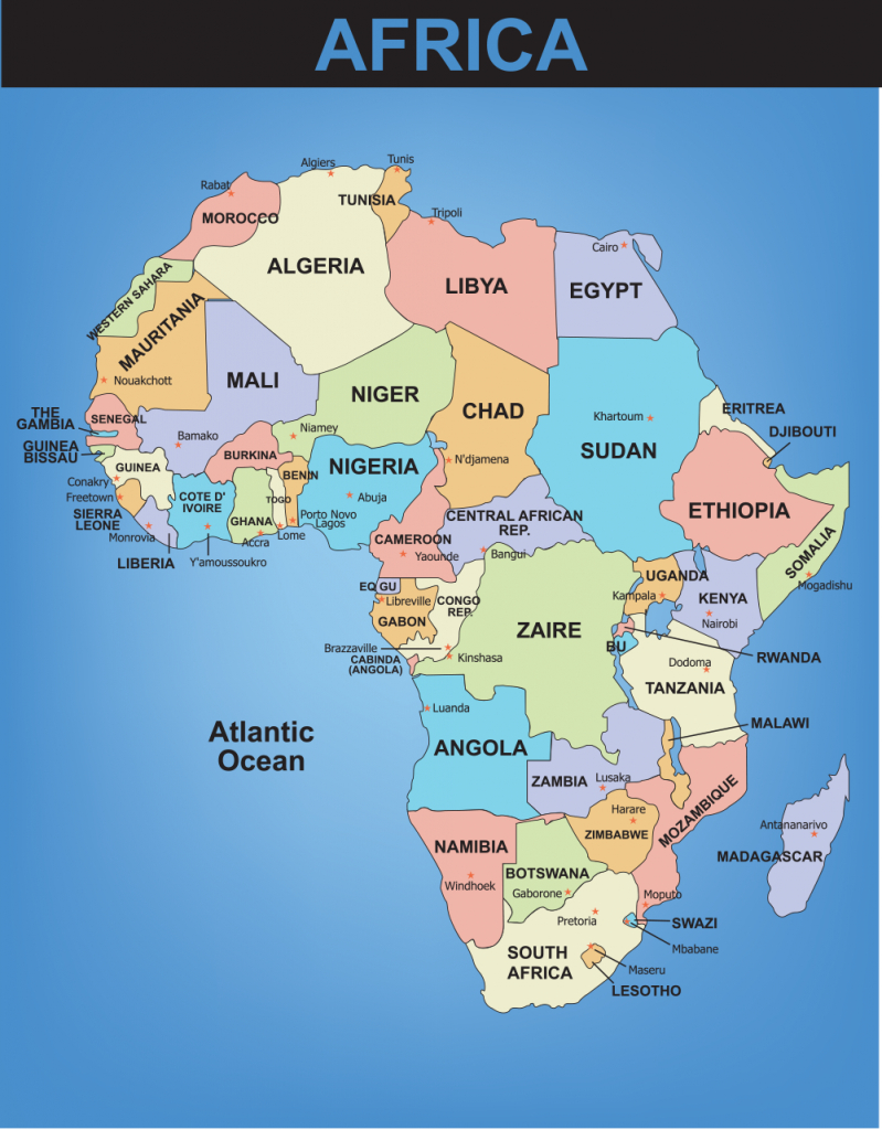 Blank Map Of The World With Countries And Capitals - Google Search - Printable Map Of Africa With Countries And Capitals