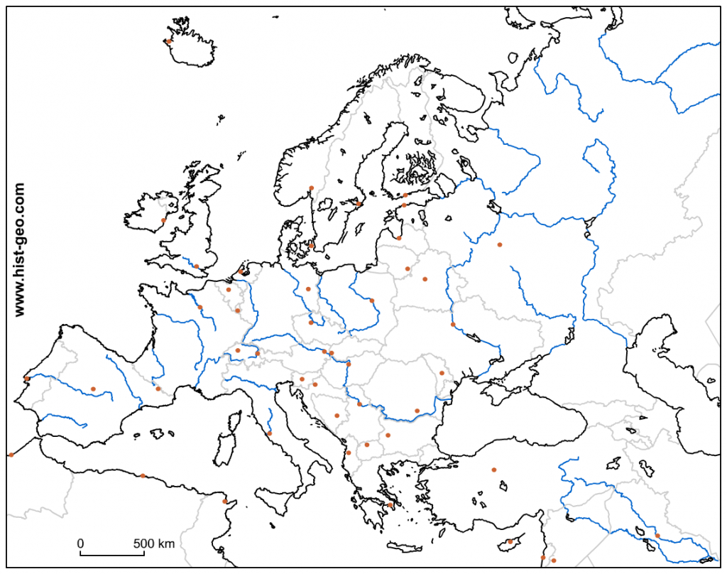 Blank Outline Map Of The European Continent (Countries, Capitals - Free Printable Map Of Europe With Countries And Capitals
