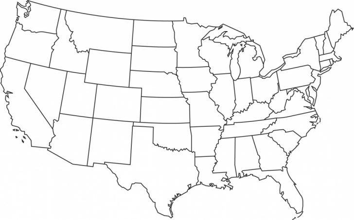 Printable Map Of The United States Without State Names