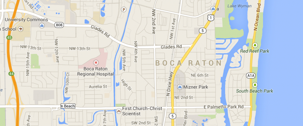 Boca Raton Fl Map And Travel Information | Download Free Boca Raton - Boca Delray Florida Map