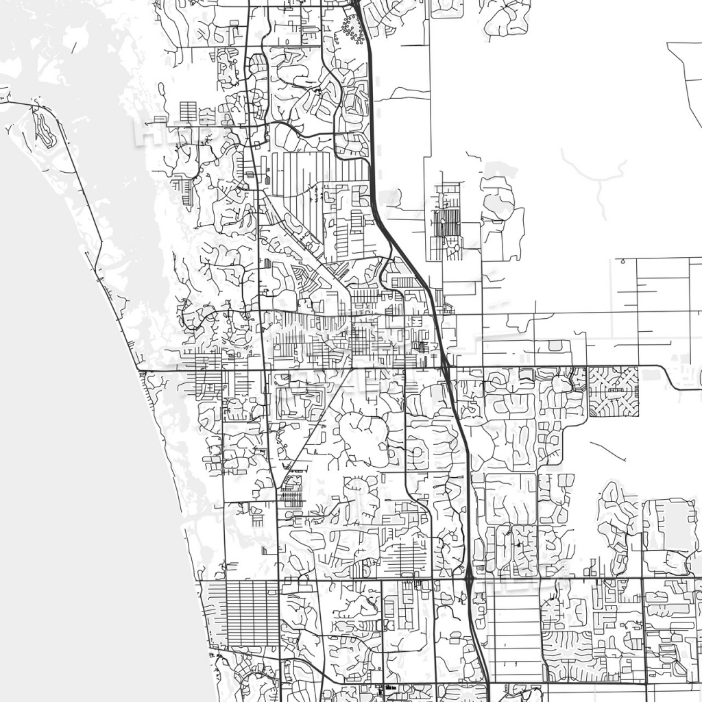 Bonita Springs, Florida - Area Map - Light | Hebstreits Sketches - White Springs Florida Map