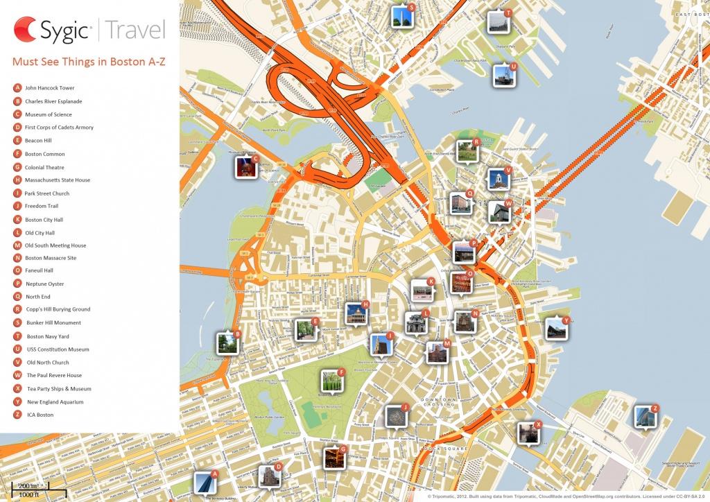Boston Printable Tourist Map | Sygic Travel - Cambridge Tourist Map Printable