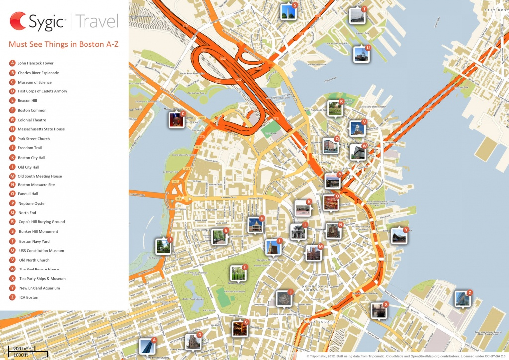 Boston Printable Tourist Map | Sygic Travel - Printable Map Of Boston