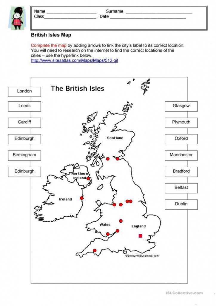 British Isles Map Worksheet - Free Esl Printable Worksheets Made - Printable Map Worksheets