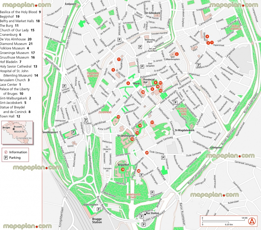 Bruges Map - Updated Attractions Map In English Showing Location Of - Bruges Tourist Map Printable