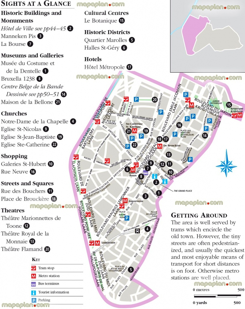 Brussels Map - Brussels, Belgium Lower Town City Center Free - Printable Map Of Brussels