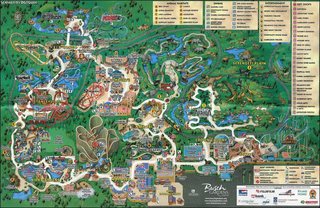 Busch Gardens Tampa - Markus Ansara - Brookgreen Gardens Printable Map