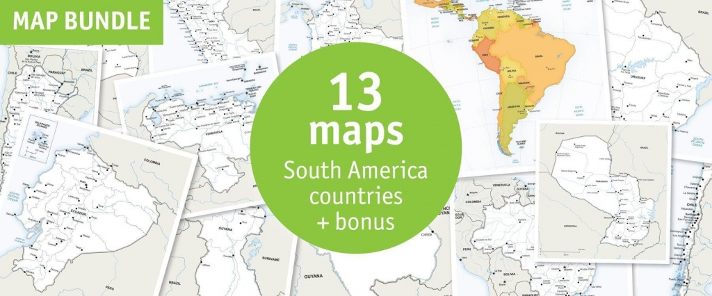 Buy 13 Vector Maps South America Countries: Sale 70% Off - Printable Map Of South America With Countries