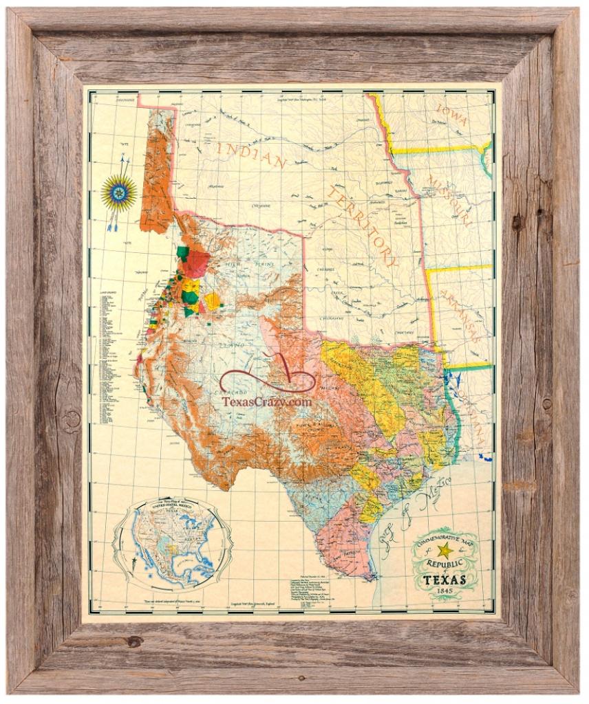 Buy Republic Of Texas Map 1845 Framed - Historical Maps And Flags - Republic Of Texas Map