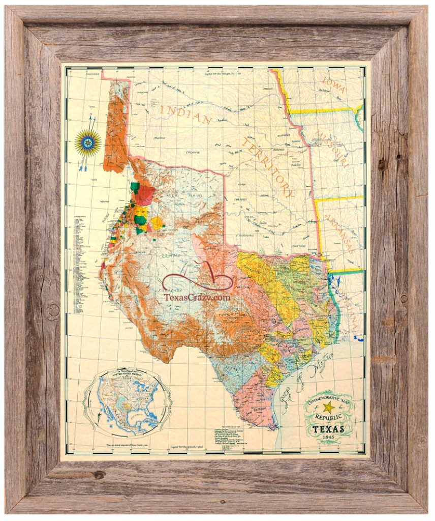 Buy Republic Of Texas Map 1845 Framed - Historical Maps And Flags - Texas Maps For Sale