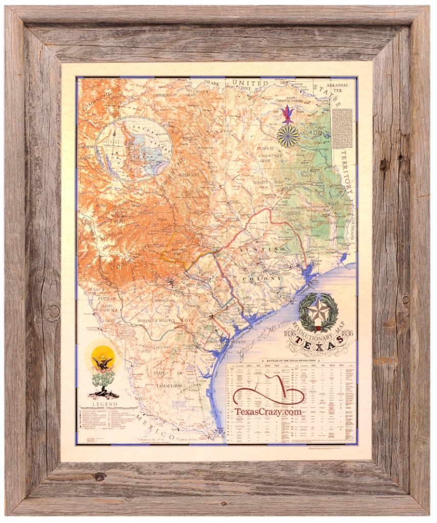 Buy Texas Revolution Map 1836 Large Framed - Republic Of Texas - Texas Map Framed Art