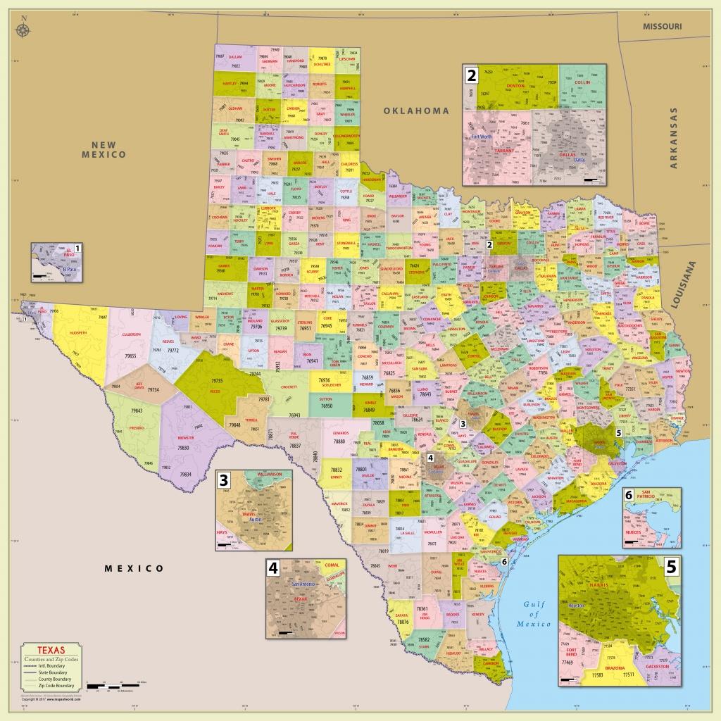 Buy Texas Zip Code With Counties Map - Texas Zip Code Map