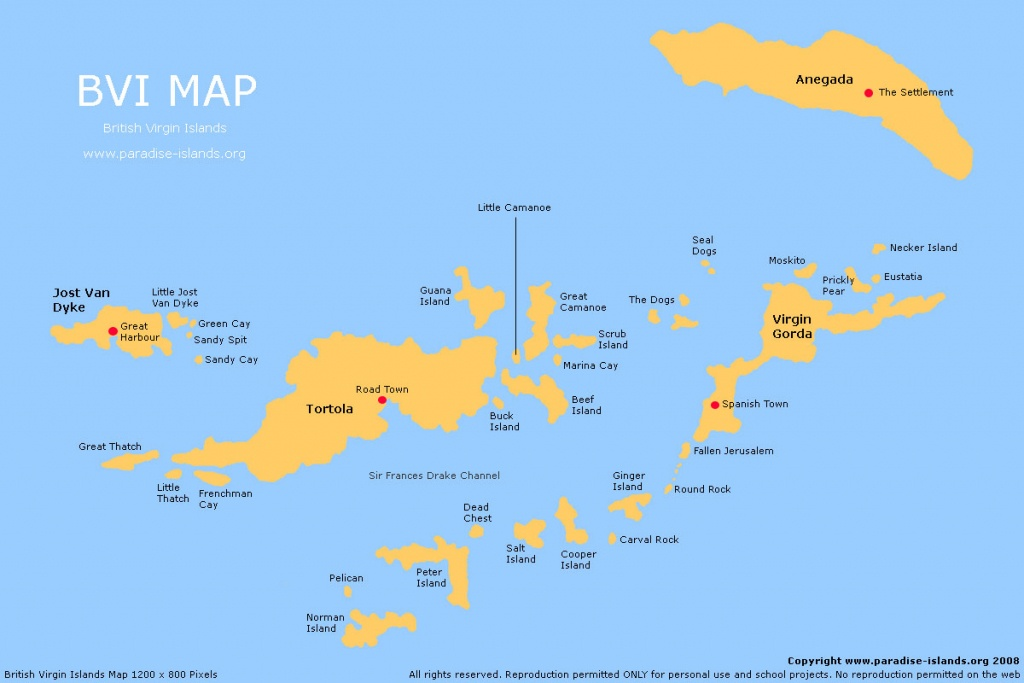 Bvi Map | Free Map Of The Bvi - Free Printable Map Of The Caribbean Islands