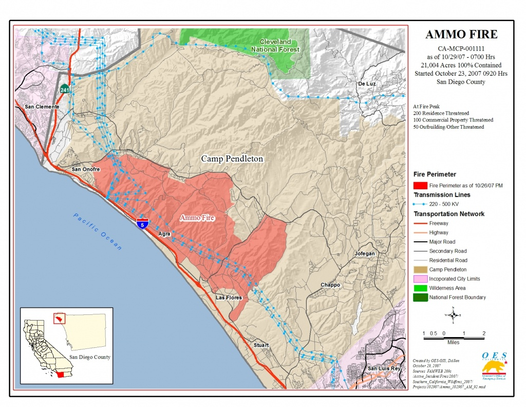 Ca Oes, Fire - Socal 2007 - Map Of Southern California Fires Today