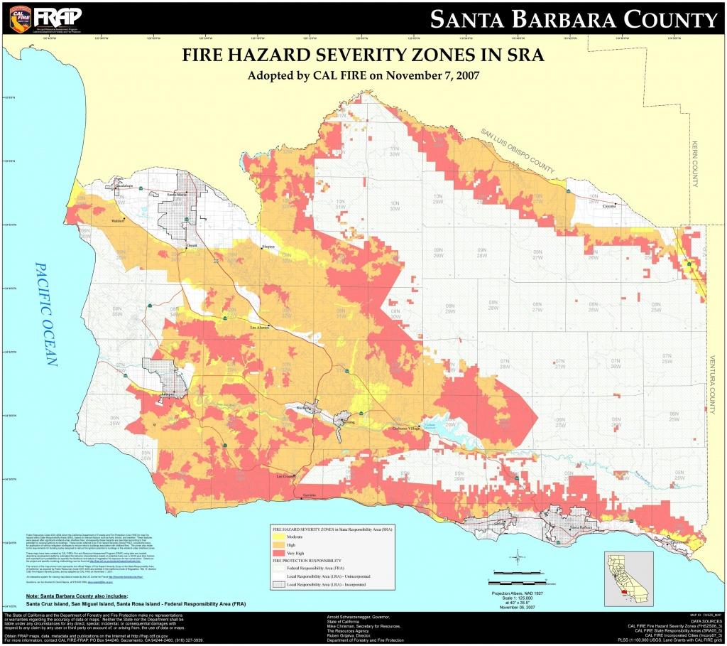 Cal Fire – Santa Barbara County Fhsz Map Within Map Of California - Map Of California Showing Santa Barbara