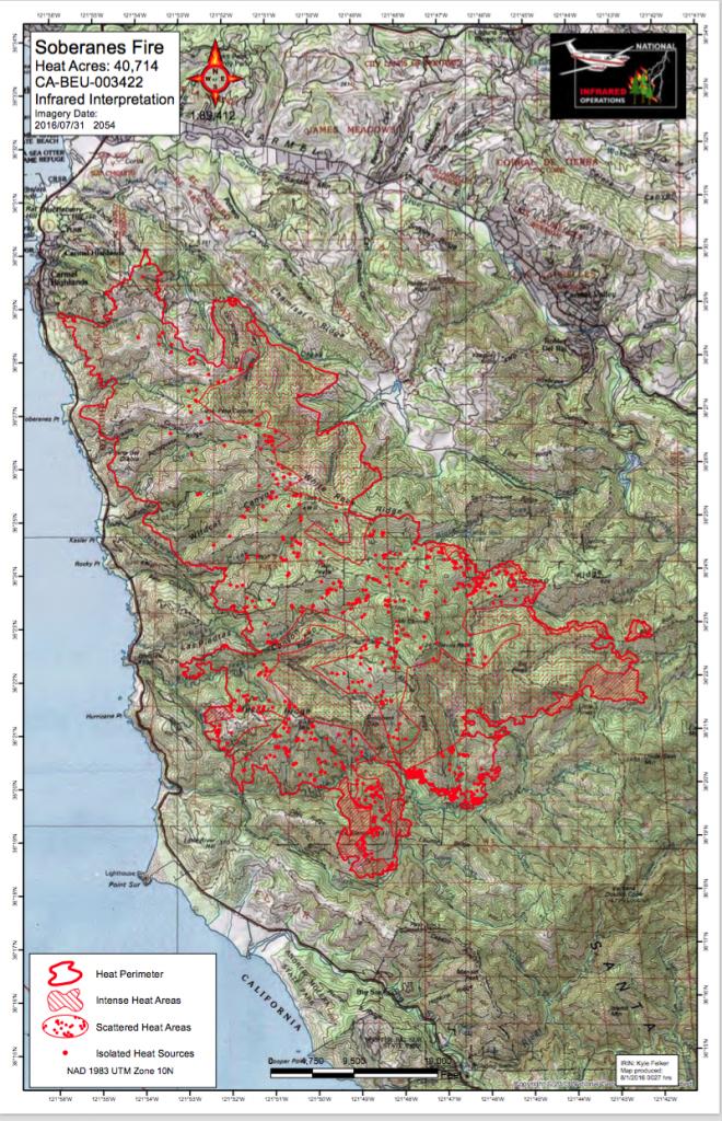 Cal Fire Soberanes Fire Maps In Pdf   Big Sur California - California Fire Heat Map