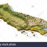 California, 3D Relief Map Cut Out With Urban Areas And Interstate   3D Map Of California
