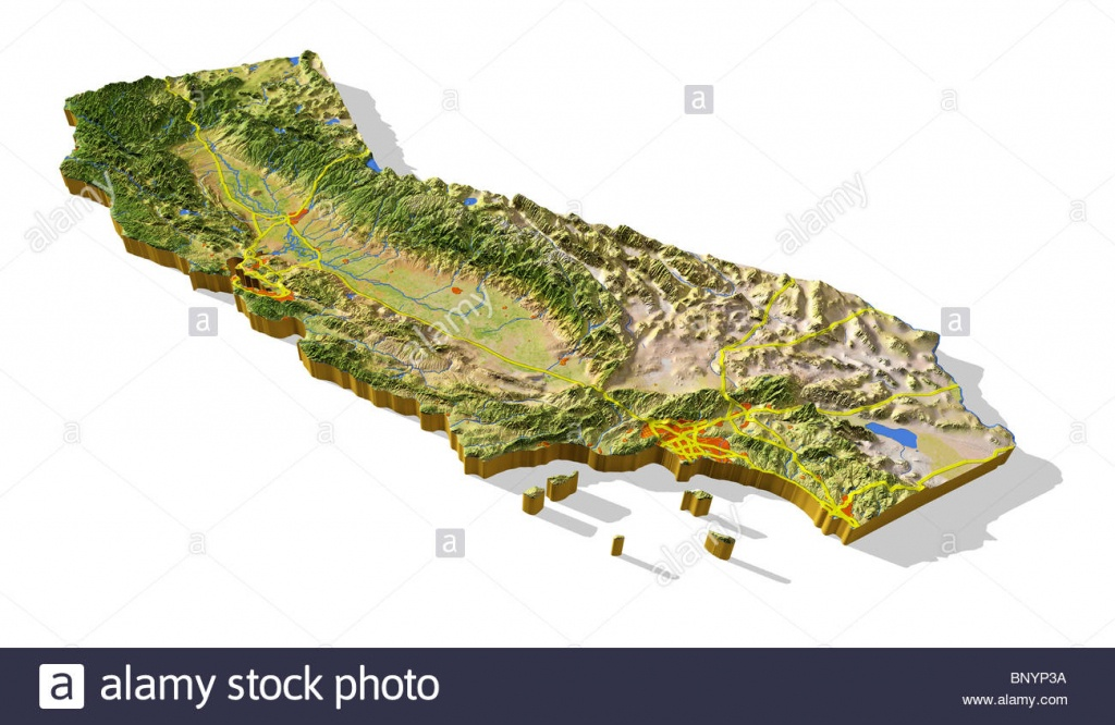 California, 3D Relief Map Cut-Out With Urban Areas And Interstate - California Terrain Map