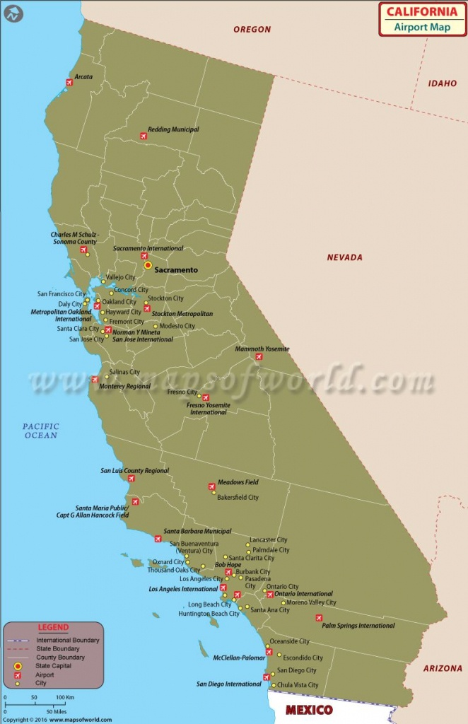 California Airports Map   California Maps In 2019   California Map - California Cities Map List