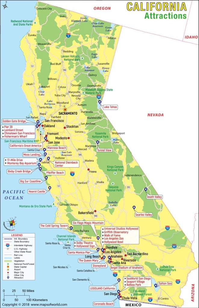 California Attractions, Things To Do In California And Places To Visit - California Sightseeing Map