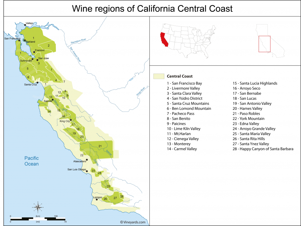 California Central Coast Wine Country Map – Map Of Usa District - Central California Wine Country Map