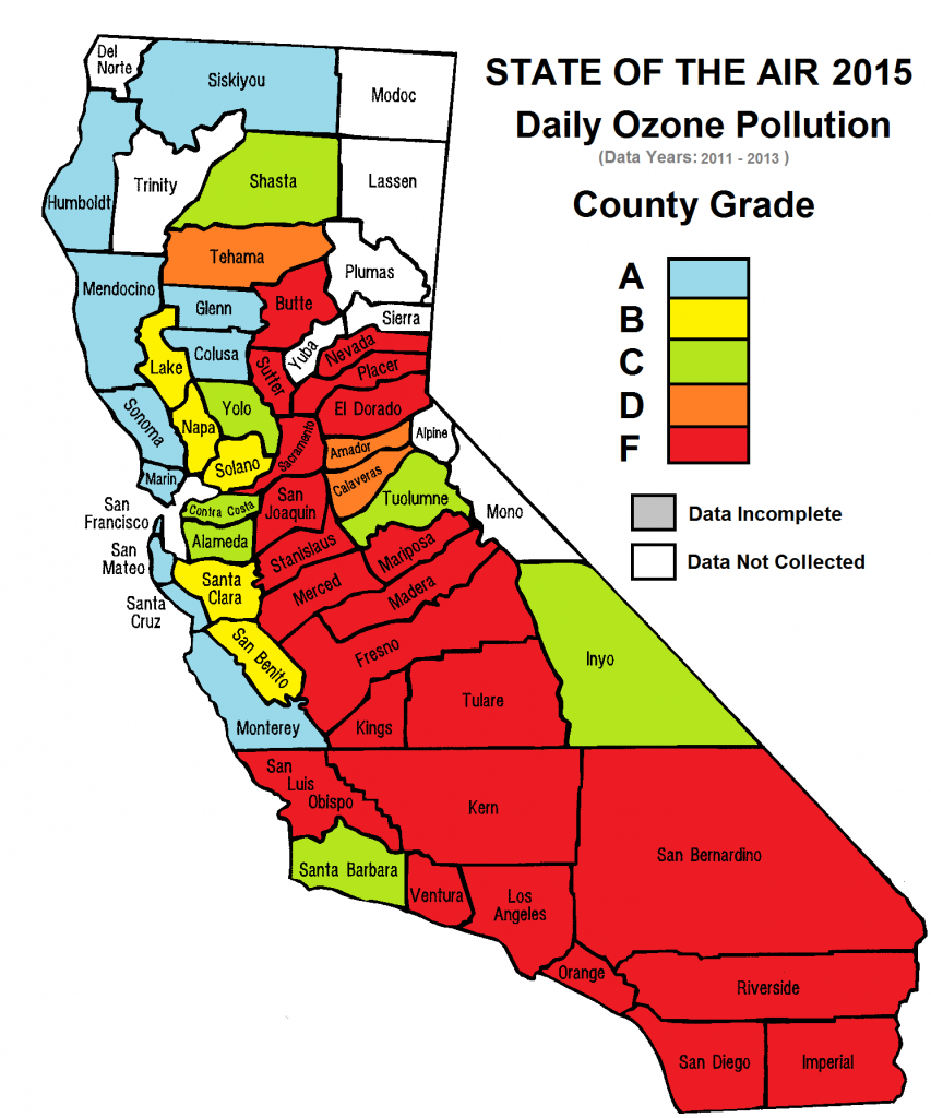 California Cities Top List Of Most Polluted Areas In American Lung - Southern California Air Quality Map