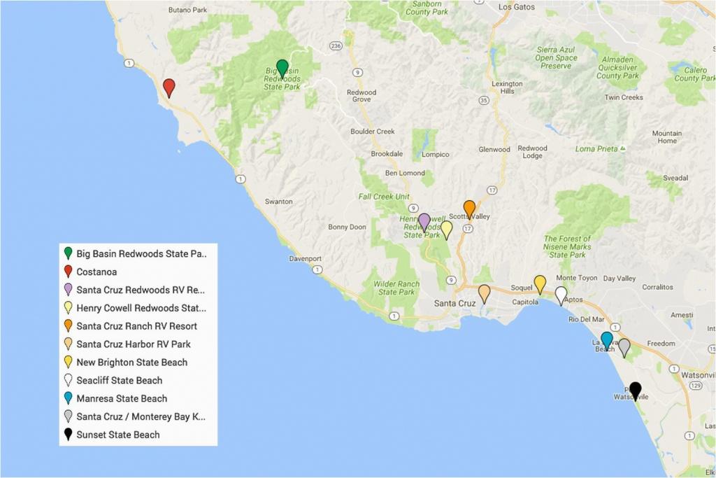 California Coast Campgrounds Map Santa Cruz Camping Places You Will - California Campgrounds Map