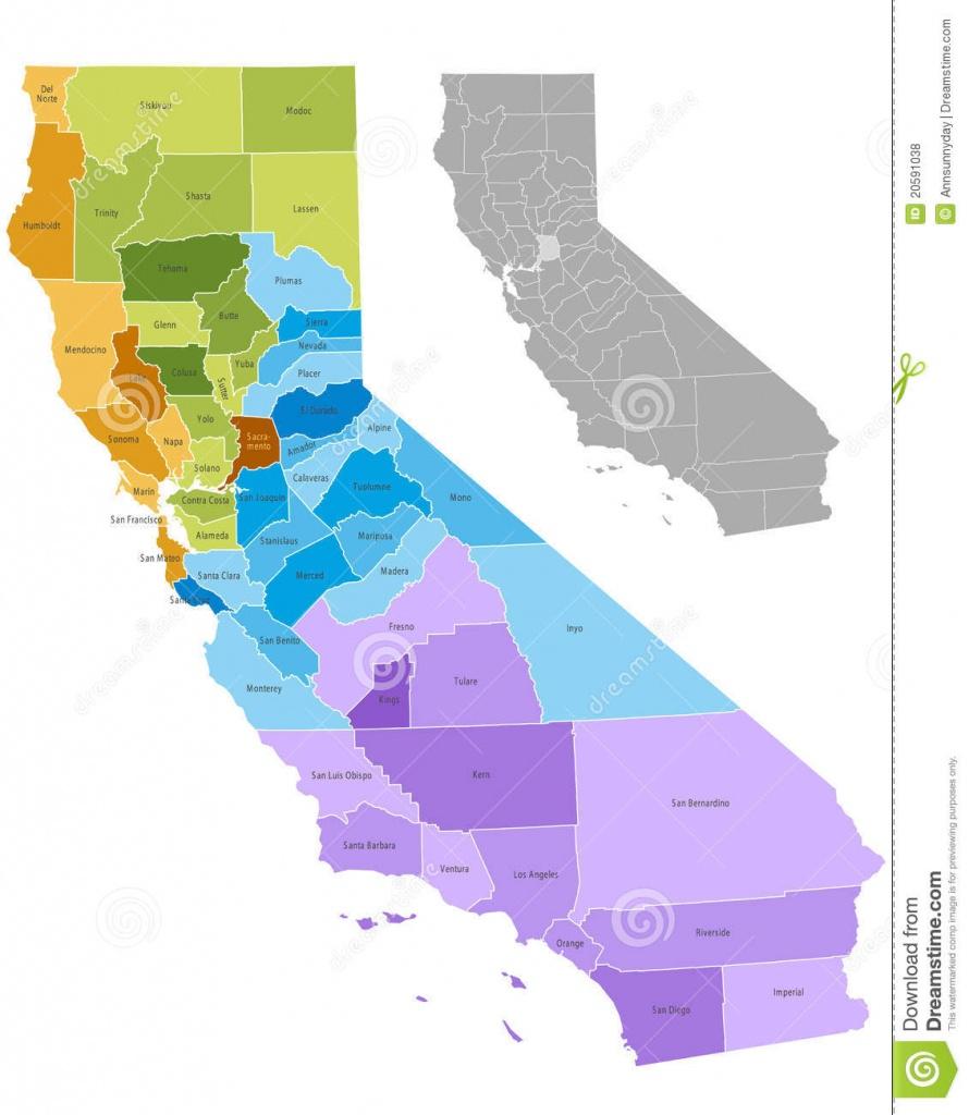 California Counties Stock Vector. Illustration Of California - 20591038 - Free Editable Map Of California Counties