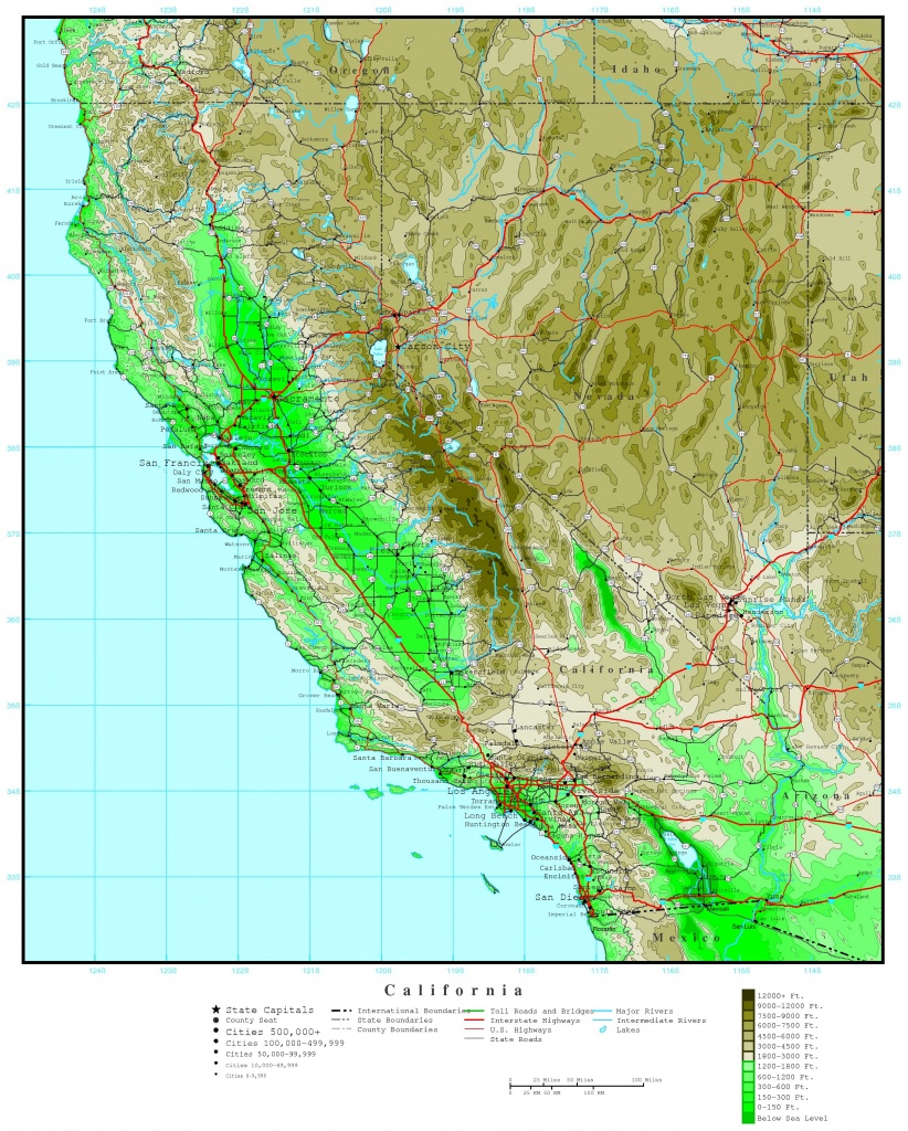 California Elevation Map - California Topographic Map