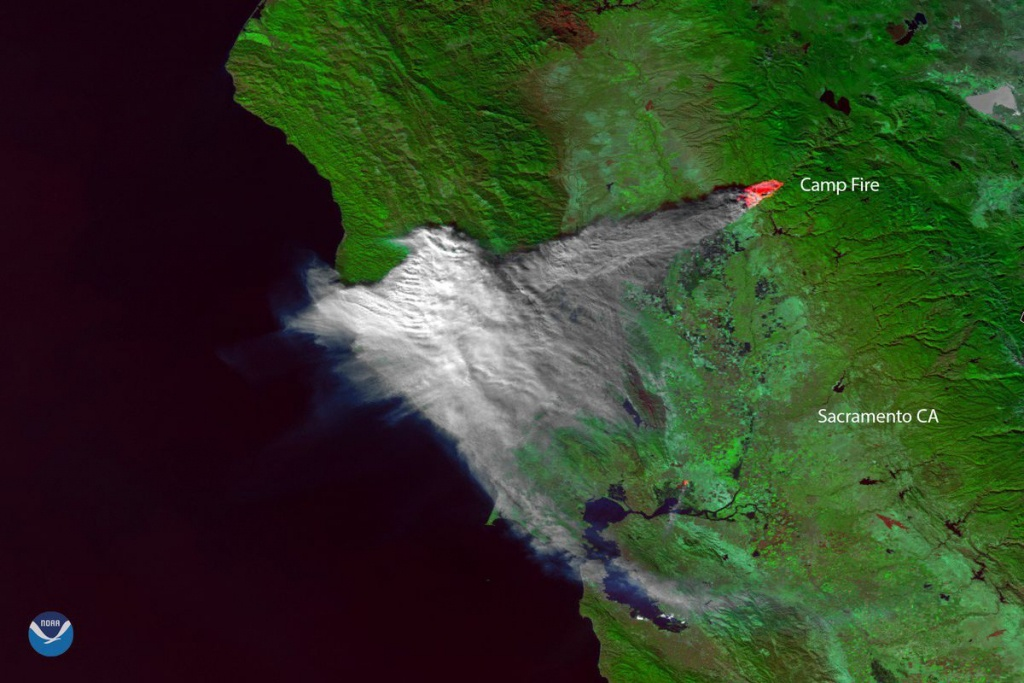 California Fire: Satellite Image Shows Camp Fire Smoke Over Bay Area - Live Satellite Map California