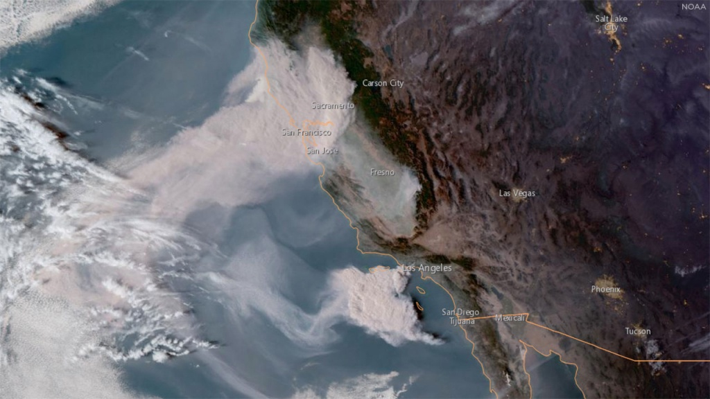 California Fires From Space: Noaa Satellite Imagery Shows Woolsey - Live Satellite Map California