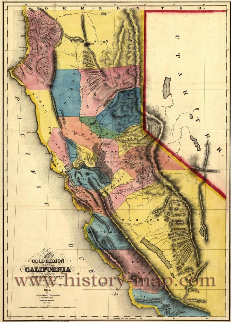 "California Gold Map ~ ""gold Mines And Mining. Gibbes' New Map Of - Gold Prospecting Maps California"