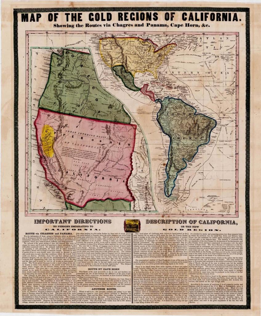 California Gold Rush Broadside - Rare & Antique Maps - California Gold Mines Map