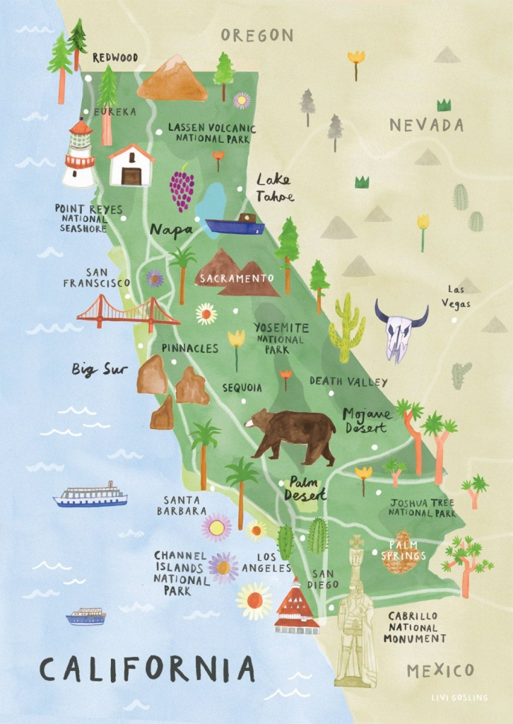 California Illustrated Map - California Print - California Map - Southern California National Parks Map
