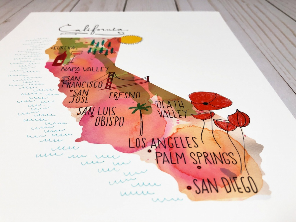 California Map Art Print Map Of California California Wall | Etsy - California Map Art