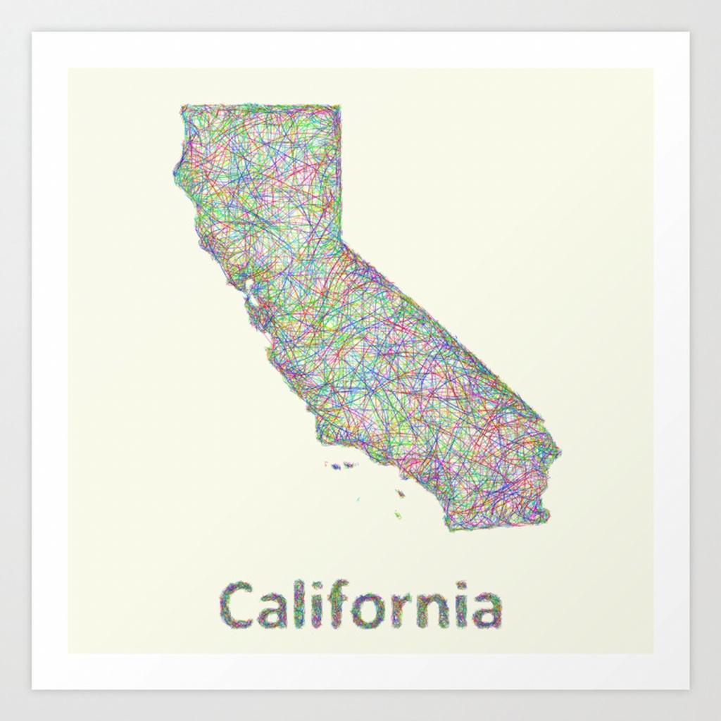 California Map Art Printdavidzydd | Society6 - California Map Art